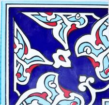 "Navy & Red 4""x4"" Ottoman Iznik Carnation Pattern Ceramic Tile Border CORNER"