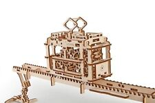 uGears Tram Car and Track DIY 3D Wooden Mechanical Model Kit Construction Toy