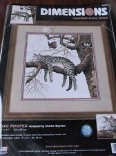 "DIMENSIONS COUNTED CROSS STITCH KIT TOO POOPED CAT ON TREE BRANCH 11"" X 11"""
