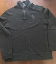 Pre-owned Polo Ralph Lauren Black Cotton Blend Big Pony 1/2 Zip Pullover Large