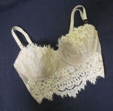 size 32D Victoria's Secret Dream Angels longline corset bustier bra white lace