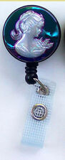 Unique CAMEO Retractable Reel ID Badge Holder/Key chain ring/Security card