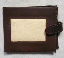 VINTAGE REAL LEATHER MENS WALLET 1980'S 1990'S DARK BROWN & CREAM NOTES CARDS