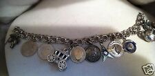 Sterling Danecraft Charm Bracelet with 11 Sterling Charms  obo