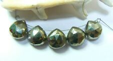 5 NATURAL UNTREATED FACETED GOLDEN BRONZE PYRITE BRIOLETTE BEADS STRAND 10mm