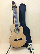 Miguel Rosales Thin Body Solid Cedar Top Classical Guitar, Built-in EQ,Cutaway