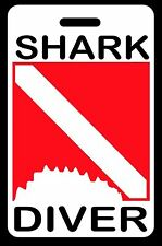 Shark Diver with Shark Bite SCUBA Diving Luggage/Gear Bag Tag - New