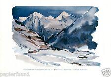 Winter Abend im Engadin Kunstdruck von 1928 Wolf Röhricht Liegnitz Schweiz Berge