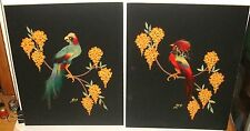 JFB PAIR OF ORIGINAL WATERCOLOR AND REAL FEATHER BIRD PAINTING