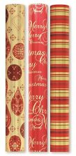 6M Luxury Foil Christmas Wrapping Paper Roll Stripe Xmas Red Gold Gift Wrap WWRH