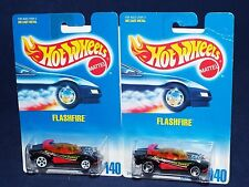 Hot Wheels Mid 90s Blue & White Cards Lot of 2 Flashfire w/ SBs & White 5DOTs