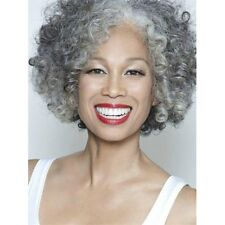 Gracefully Short Afro Curly Grey Silver Women's Synthetic Hair Wig