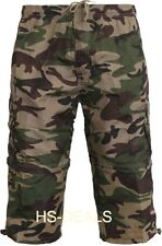 Mens army Camouflage 7 Pockets Long Side Zip Off Shorts Cargo Combat Fishing
