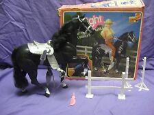 Vintage 1981 Barbie Black Horse Midnight Arabian Pony Saddle Bridle Box Fence
