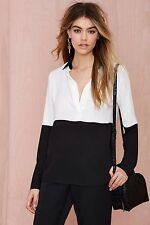 Nasty Gal Off the Block Color Block Blouse Size L