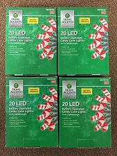 4 Boxes 20 LED Battery Operated Candy Cane Lights Christmas 6 Ft 4 In Red White