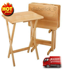 5 Piece Tray Table Set Wooden TV Card Game Laptop Dinner Snack Craft Serving NEW