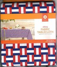 "RED, WHITE & BLUE FABRIC OBLONG TABLECLOTH ~ 60"" X 84"" ~MACHINE WASH ~ NICE~ NEW"