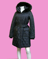 NEW LADIES Lauren by RALPH LAUREN Fur Trimmed HOODED Black PUFFER Coat SIZE - M