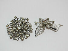 Retro Silver Flower Brooch Lot with Clear Rhinestone Cluster