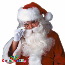 Deluxe Father Christmas Fancy Dress White Santa Claus Beard & Wig Set
