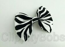 "LADIES HANDMADE 4"" CREAM BLACK WHITE ZEBRA STRIPED FABRIC BOW HAIR CLIP HEADBAND"