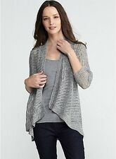 NWT EILEEN FISHER DARK PEARL Airy Rustic Speckle Angle Front Cardigan Top L NEW
