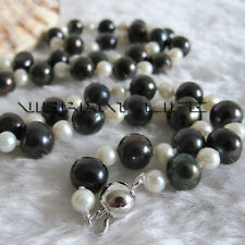 """22"""" 4-9mm White Black Freshwater Pearl Necklace  Mother's Day Gift"""