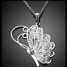 Silver Plated 925 3D Butterfly Clear Crystal CZ Dangle Pendant Necklace. 1484