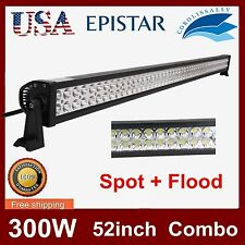 300W 52INCH LED WORK LIGHT BAR FLOOD SPOT JEEP DRIVING OFFROAD FOG 4WD TRUCK 12V