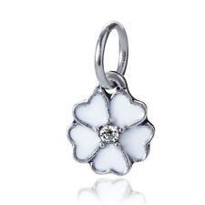 925 Silver White Sakura Pendant Charms Bead For sterling Necklace Bracelet Chain