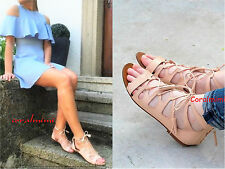 ZARA NEW NUDE ROMAN REAL LEATHER FLAT SANDALS SIZE 5