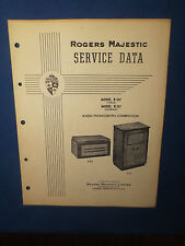 ROGERS MAJESTIC R207 R217  RADIO PHONOGRAPH SERVICE MANUAL ORIGINAL FACTORY