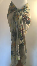 "NEW Pia Rossini ""Amoroso"" Floral Print Cotton Sarong Bikini Cover Up One Size"
