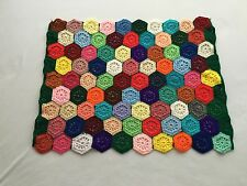 Vintage Handmade Crochet Multi Color Hexagon Afghan Blanket Throw