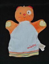 Peluche doudou marionnette chat BEBE9 bébé 9 orange bleu miaou Etat NEUF