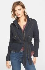 New FREE PEOPLE black Double-cloth belted Twill Wrap JACKET Womens M $168