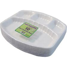 20 X 25cm DISPOSABLE PLATES WHITE FOAM POLYSTYRENE PARTY KIDS BBQ 4 COMPARTMENTS