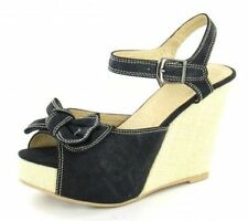 F1851 - Spot On Ladies Canvas Wedges Bow Detail - Black or Beige - SALE