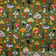 BonEful Fabric FQ Cotton Quilt Green Willow Shroom Mushroom Brown Red White Dot