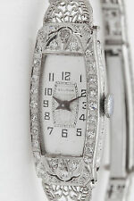 Antique 1920s $5000 BULOVA  Platinum .75ct Diamond Ladies Filigree Watch C & B