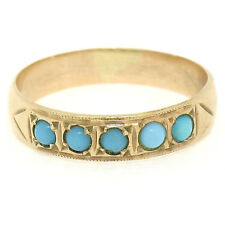 Antique Victorian 14k Rose Gold Round Cabochon Turquoise Petite 4.4mm Band Ring