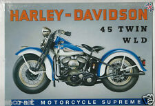 Harley Davidson Motorcycle Motorbike Twin WLD Steel Decorative Wall Plaque Sign