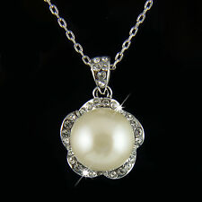18k white Gold GF Swarovski crystals pearl bridal pendant necklace