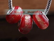 5/20pcs Big Hole Murano Lampwork Glass Fit European Charms Bracelet Loose Beads