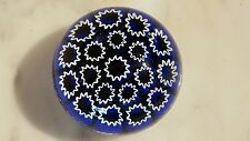 Murano Glass Millefiora Star Canes on Cobalt Paperweight