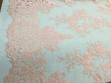 Peach Flowers Embroider On A 2 Way Stretch Mesh Lace. Wedding/bridal/Prom Fabric