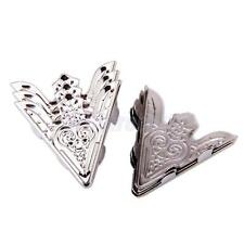 6pcs Metallic Metal Pointed Collar Clips Wing Tips for Women Blouse Shirt Silver