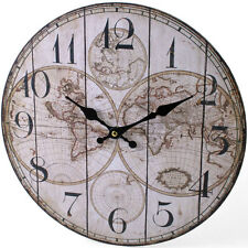Wooden Wall Atlas World Map Globe Clock Vintage Kitchen - NEW
