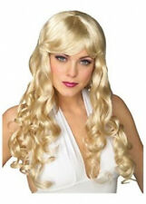 Womens Blonde Fringed Long COSPLAY WIG Hair Curly Fancy Dress